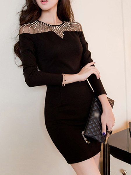 Beaded Paneled Sexy Crew Neck Dress