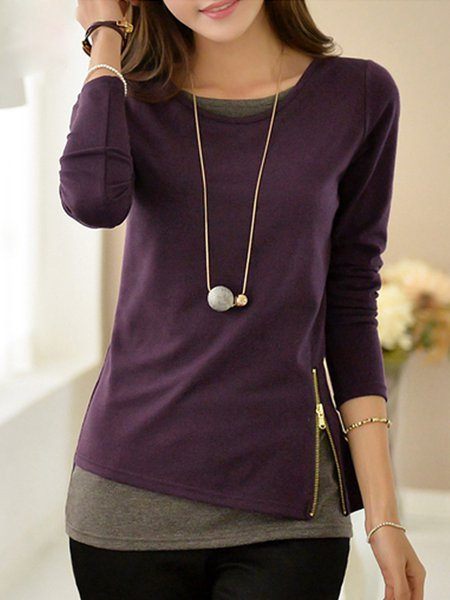 Purple Cotton Crew Neck Zipper T-Shirt