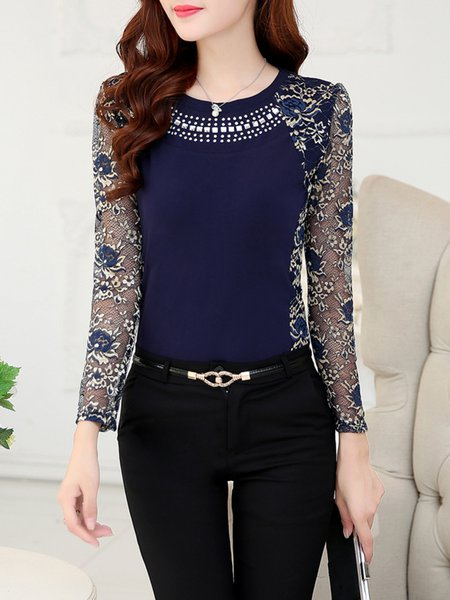 Dark Blue Long Sleeve Paneled T-Shirt