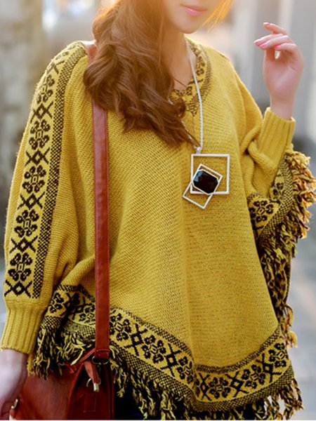 Casual Knitted Tribal Batwing V Neck Poncho