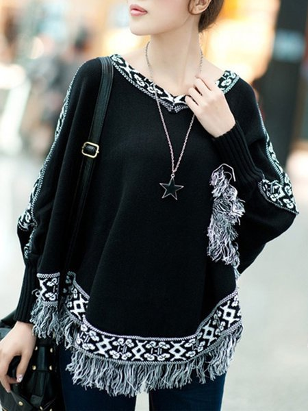 Fringed Knitted Batwing Tribal V Neck Poncho