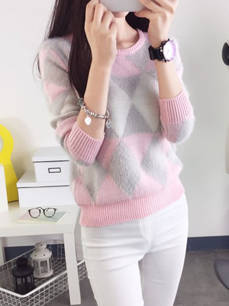 Knitted Geometric Crew Neck Casual Sweater