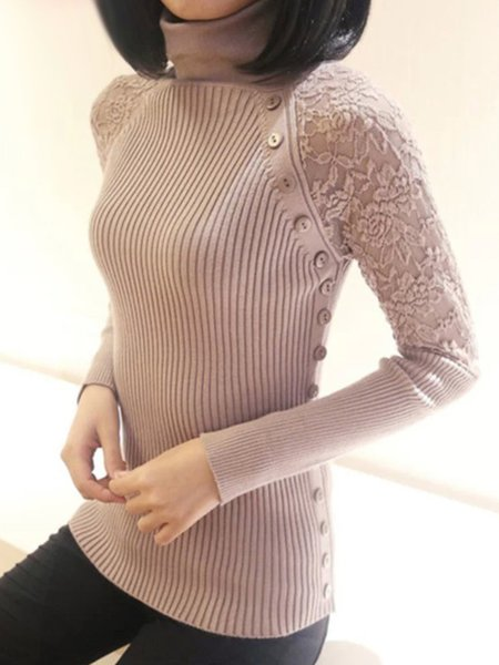 Turtle Neck Long Sleeve Knitted Guipure Lace Sweater