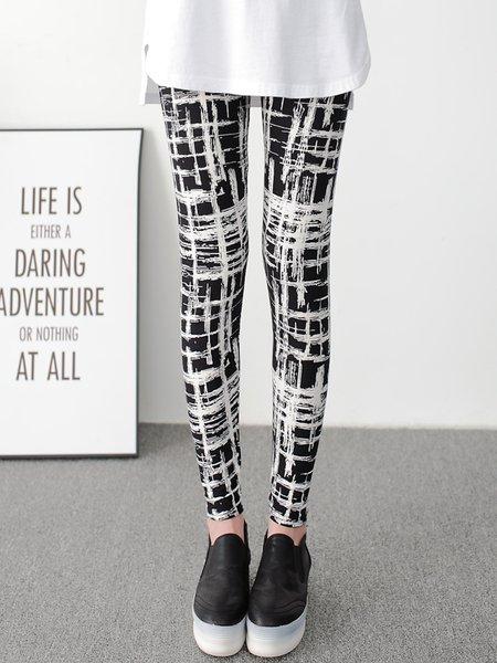 Black Printed Casual Leggings