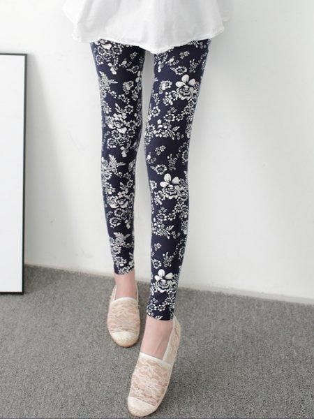 Navy Blue Printed Casual Floral Leggings