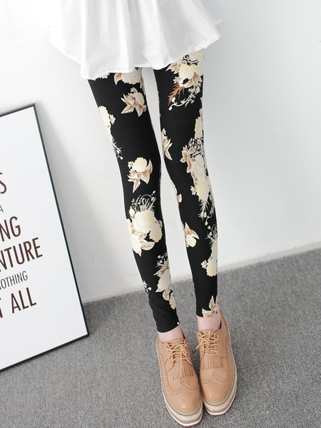 Black Floral Printed Casual Leggings