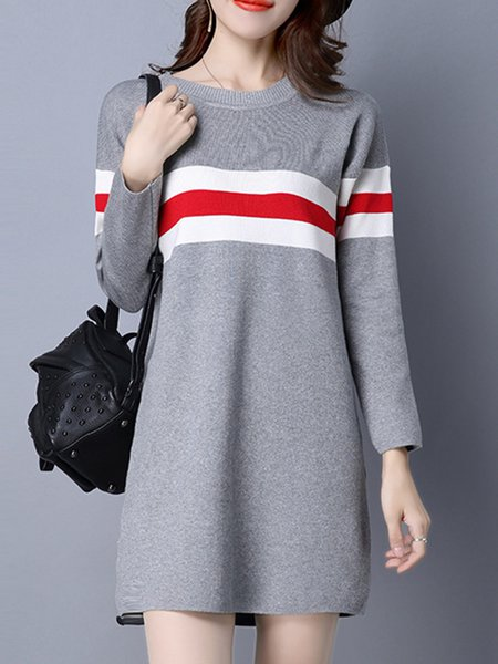 Knitted Long Sleeve Stripes Color-block Dress
