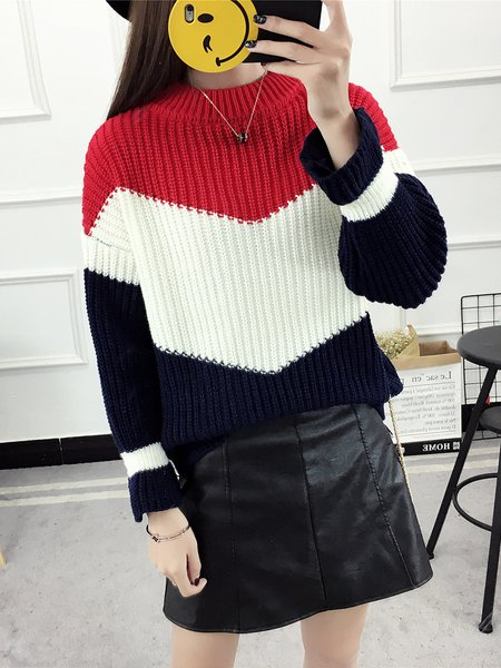 Red Balloon Sleeve Color-block Knitted Sweater