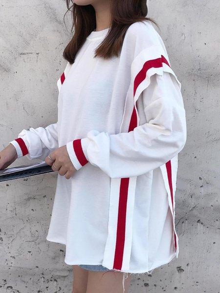 Paneled Stripes Balloon Sleeve T-Shirt