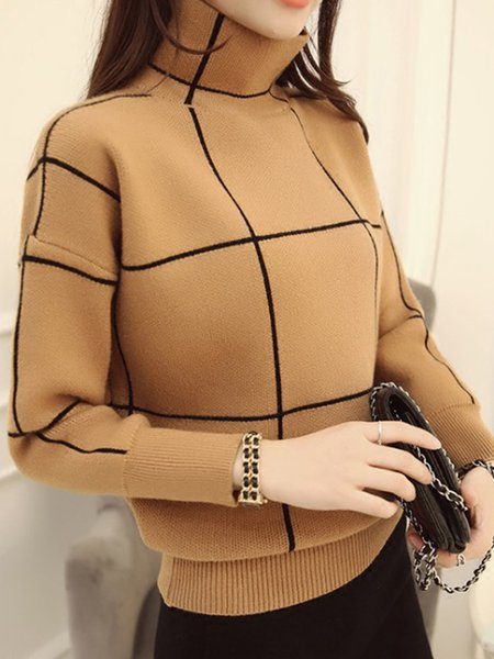 Turtleneck Long Sleeve Knitted Checkered Casual Sweater