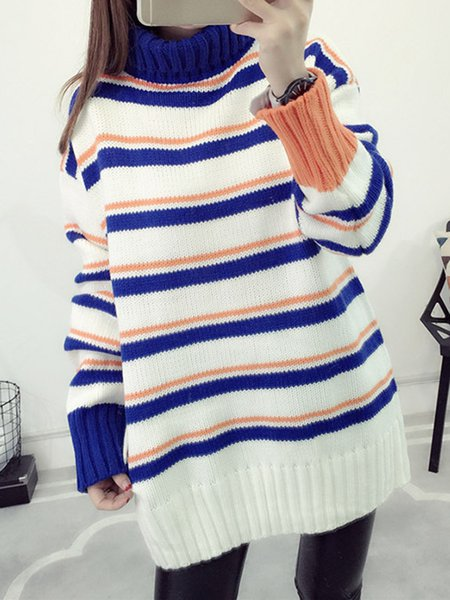 Turtleneck Stripes Long Sleeve Knitted Sweater
