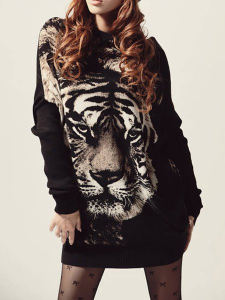 Knitted Statement Animal Print Sweater