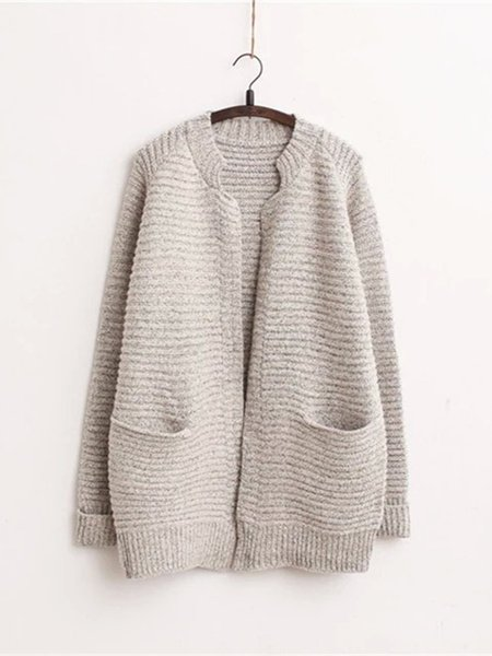 Long Sleeve Pockets Solid Knitted Casual Cardigan