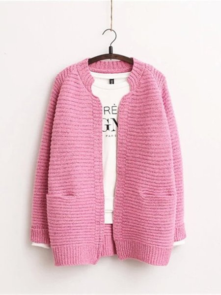 Casual Pockets Long Sleeve Knitted Cardigan