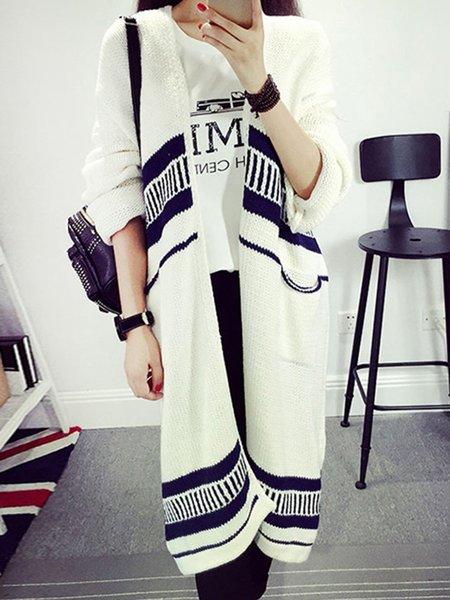 Casual Knitted Long Sleeve Stripes Cardigan