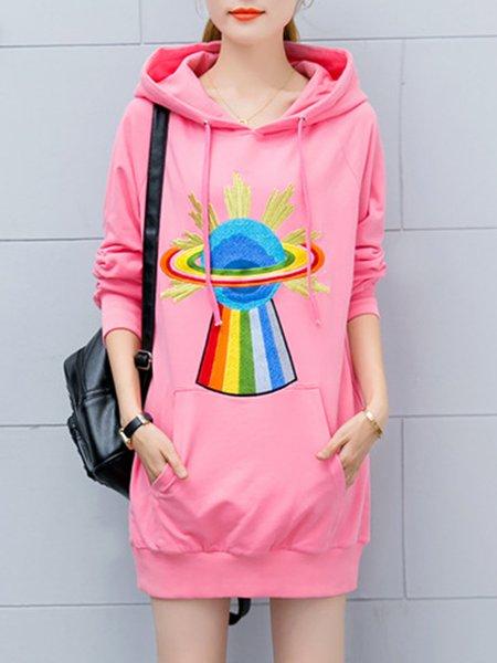 Cute Hoodie Embroidered Long Sleeve  Dress