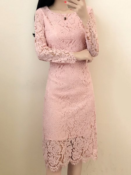Elegant Sheath Crew Neck Long Sleeve Lace Dress