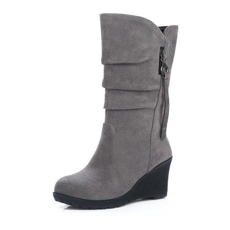 Wedge Heel Mid-Calf Suede Women Boots