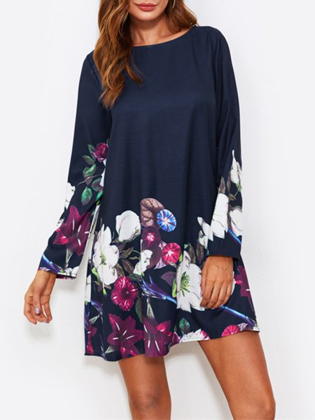 Navy Blue Women Print Dress Shift Daytime Long Sleeve Floral-print Dress