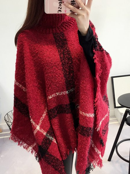 Knitted Fringed Cape Sleeve Asymmetrical Poncho