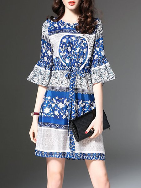 Women Print Dress Crew Neck A-line Daytime Printed Floral Dress