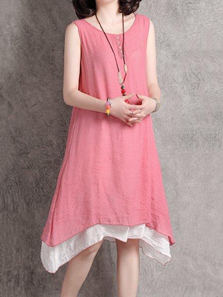 Peach Crew Neck Asymmetrical Casual Dress