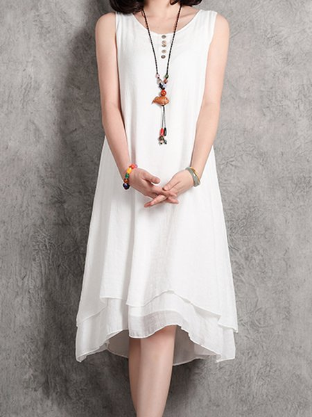 White Women Casual Dress Crew Neck Asymmetrical Daily Sleeveless Casual Dress