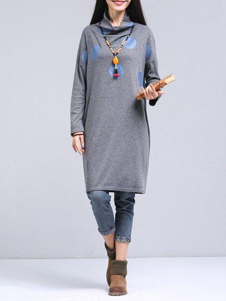 Gray Long Sleeve H-line Polka Dots Casual Dress