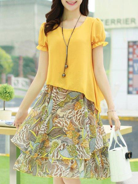 Yellow Elegant Paneled Crew Neck Plus Size Dress