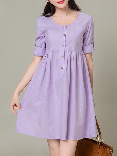 Women Casual Dress Crew Neck A-line Daily Long Sleeve Buttoned Dress