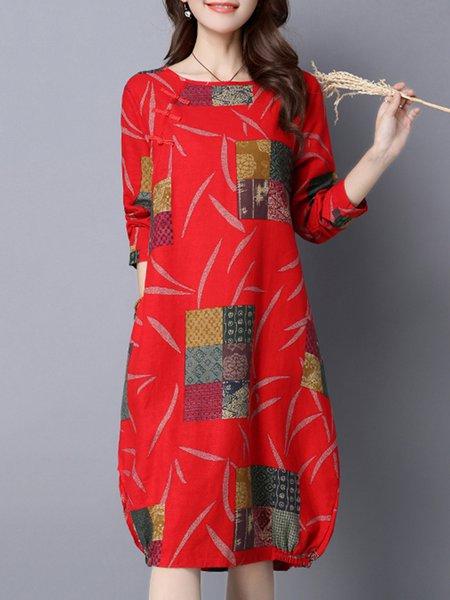Women Print Dress Crew Neck Shift Daily Long Sleeve Linen Dress