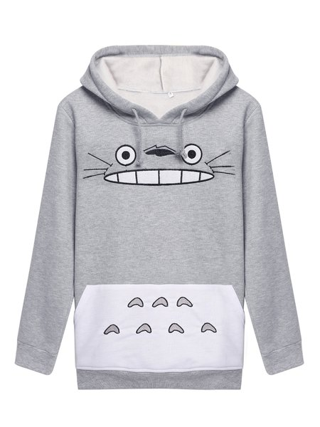 Gray Long Sleeve H-line Animal Print Casual Pockets Hoodie