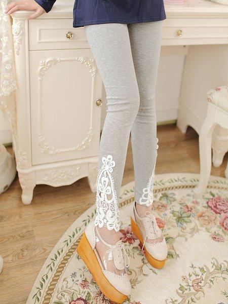 Light Gray Appliqued Casual Sheath Leggings