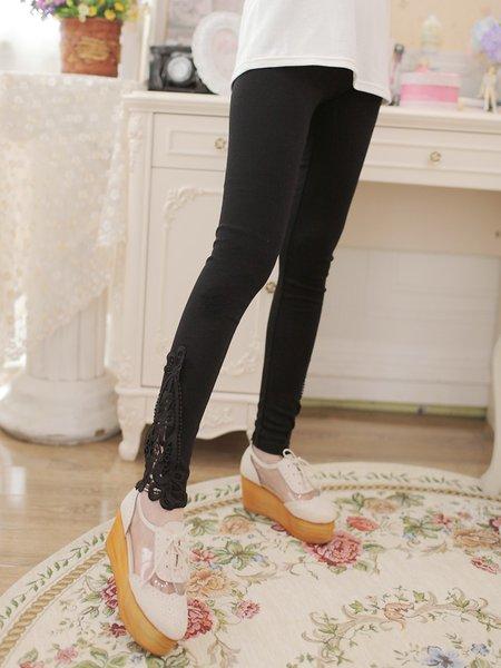 Black Appliqued Sheath Casual Plus Size Leggings