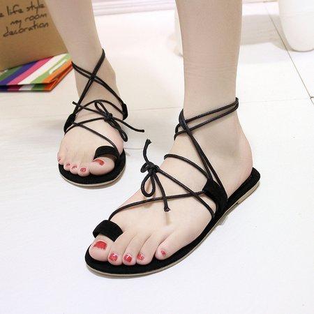 Black Women's Lace-Up Suede Sandals