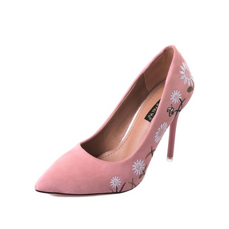 Embroidered Pointed Toe Pink Suede Women's Pumps
