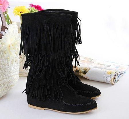 Black Fringed Round Toe Slip-On Mid-Calf Women's Boots