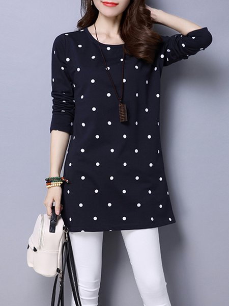 Crew Neck Long Sleeve Polka Dots  Tunic