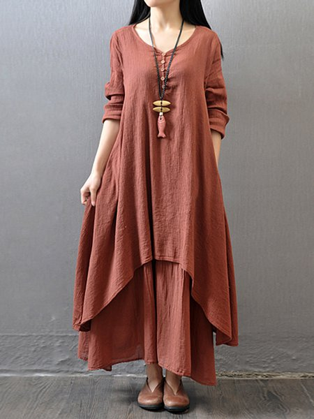 Orange Asymmetric Long Sleeve Maxi Dress