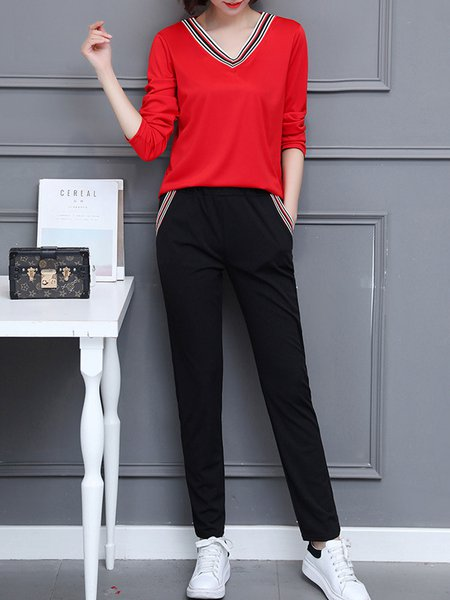 Red Long Sleeve Pockets Two Piece Women's Sets