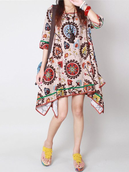 Asymmetrical Multicolored Crew Neck Tribal Dress