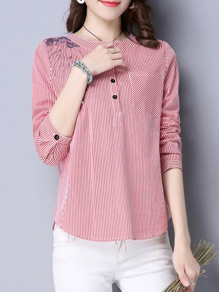 Embroidered Stripes Long Sleeve Blouse