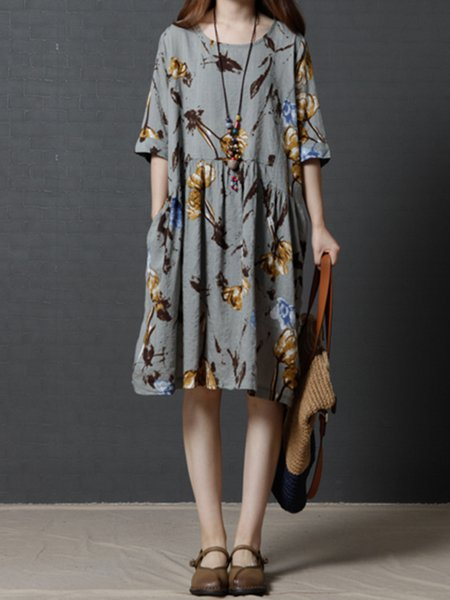 Women Print Dress Crew Neck A-line Daily Half Sleeve Pockets Dress