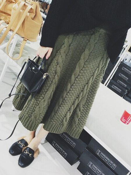 Dark Green Solid A-line Knitted Casual Skirt