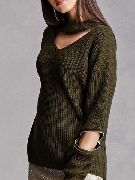 Plain Zipper Long Sleeve Choker Neck Sweater