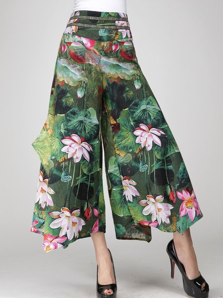 Green Printed Casual Floral Wide Leg Pants