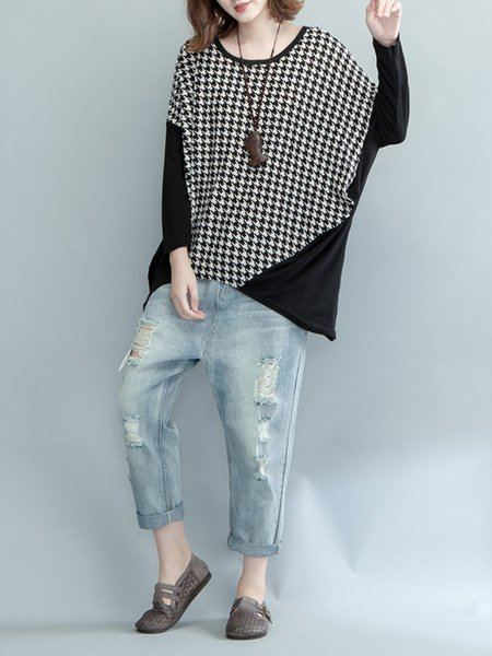 Black Houndstooth Crew Neck Long Sleeve Tunic