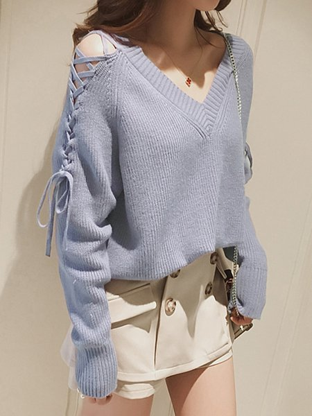 H-line Casual Long Sleeve V Neck Knitted Sweater
