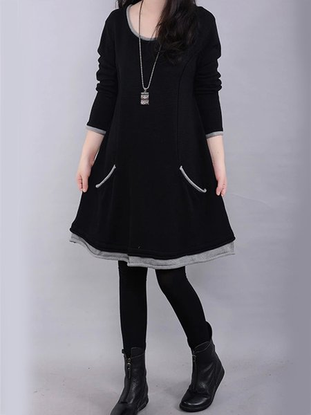 Paneled Casual H-line Crew Neck  Dress