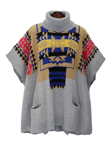 Gray Knitted Turtleneck Geometric Batwing Sweater